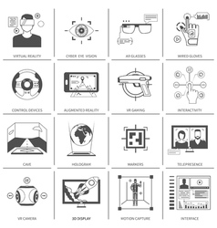 Black And White VR Icons vector