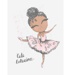 Black cute little ballerina surface design for vector