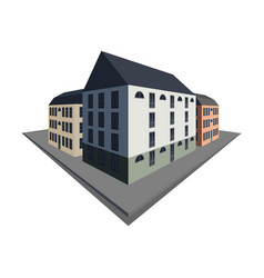 Block of old city buildings in perspective vector