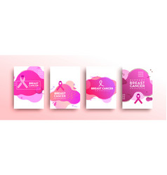 breast cancer awareness abstract pink card set vector image