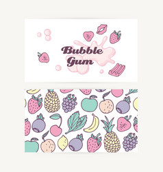 Business cards with hand drawn bubble gum vector