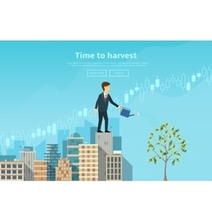 Businessman watering money tree from watering can vector