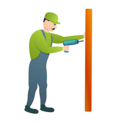 Carpenter use electric drill icon cartoon style vector