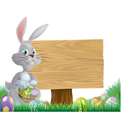 chocolate eggs and easter bunny sign vector image