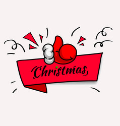 Christmas banner with thumbs up vector
