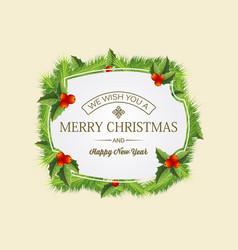 christmas coniferous wreath concept vector image