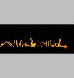 Cleveland light streak skyline vector