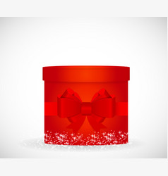 Colorful gift box red color cylindrical form vector