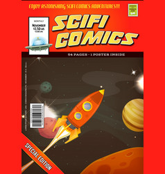 Comic scifi book cover template vector