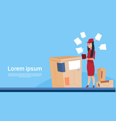 courier woman use tablet box delivery package post vector image
