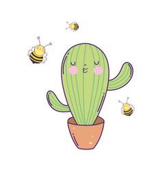 cute cactus with bees kawaii character vector image