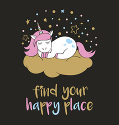 Cute unicorn in cartoon style with hand lettering vector