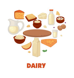 Dairy products on promotional poster in heart vector