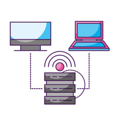database connected computer laptop data storage vector image