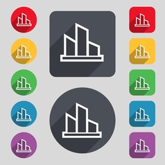 Diagram icon sign A set of 12 colored buttons and vector image