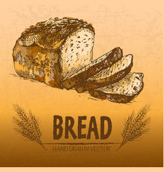 Digital color detailed line art bread vector