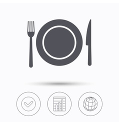 Dish fork and knife icons Cutlery sign vector image