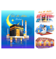 Eid al adha posters with mosques praying muslim vector