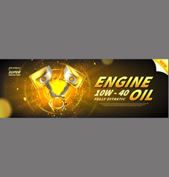 Engine oil advertisement banner vector
