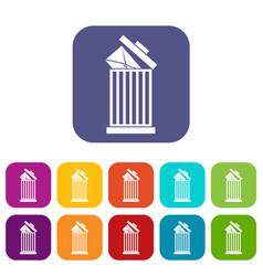 envelope in trash bin icons set vector image