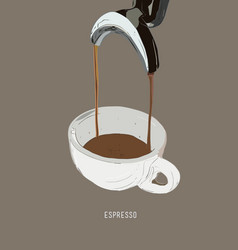 Espresso double shot coffee machine vector