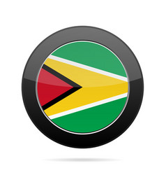 flag of guyana shiny black round button vector image