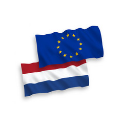 Flags european union and netherlands on a white vector