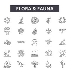 Flora and fauna line icons signs set vector