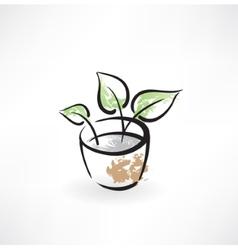 Flower in pot grunge icon vector