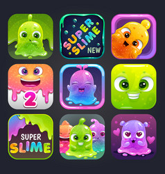 Funny cartoon colorful app icons for slime game vector
