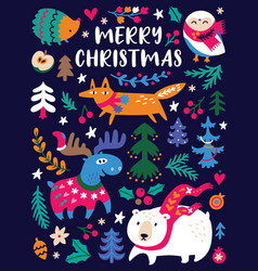 funny christmas animals and trees in vector image