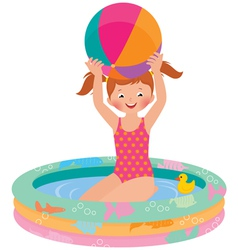 Girl in inflatable pool vector
