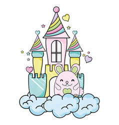 Grated cute female mouse in the castle and clouds vector