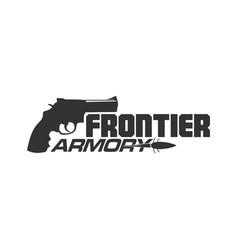 Gun bullet armory handgun weapon silhouette logo vector