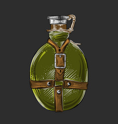 Hand drawn sketch of travel flask in green color vector