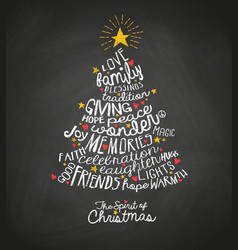 handwritten words in christmas tree shape vector image