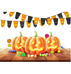 Happy halloween poster jack lanterns gourd vector