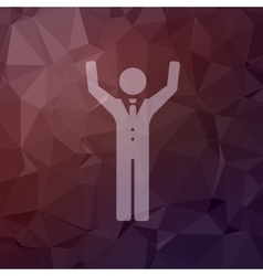 Happy man raising his hand in flat style icon vector