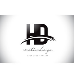Hd h d letter logo design with swoosh and black vector
