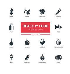 healthy food - line design icons set vector image