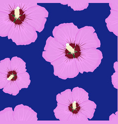hibiscus pink floral seamless pattern on blue vector image