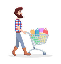 hipster with shopping trolley full of goods vector image