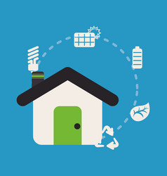 home sustainable ecology recycle energy vector image