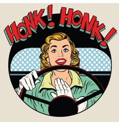 Honk vehicle horn driver woman vector