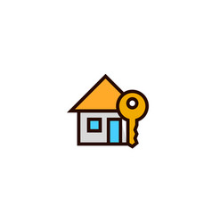House key icon home owner symbol simple clean vector