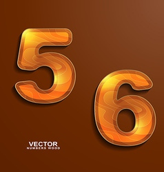 Icons wood texture numbers 5 6 vector