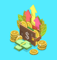 income growth flat isometric conceptual vector image