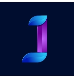 J letter volume blue and purple color logo design vector image