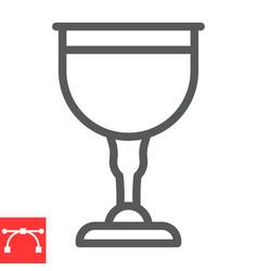 Jewish goblet line icon rosh hashanah and jewish vector