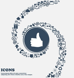 Like Thumb up icon sign in the center Around the vector